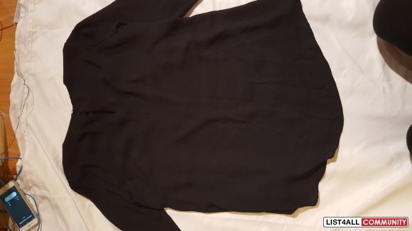 H&M Studded Black Long Sleeve Blouse (Size 8)
