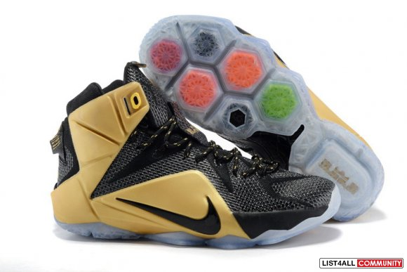 Cheap Nike Lebron 12 Gold Black Shoes www.newlebron13.com