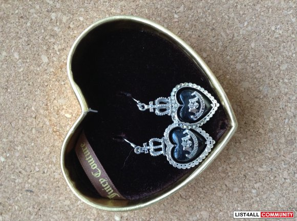 JUICY COUTURE Black Heart Dangle Earrings