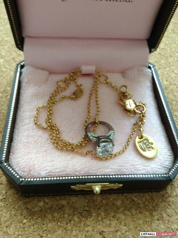 JUICY COUTURE Gold Tone Juicy Bling 18.5in Chain w/ Ring Charm + Origi
