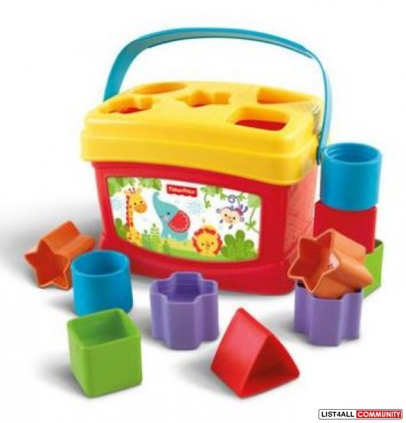 Fisher-Price Brilliant Basics Baby's First Blocks, 10 blocks Ages 1-3,