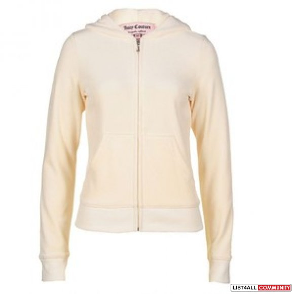 BNWT Authentic Juicy Couture Cream Velour Zip Up with Hood - P (XS)