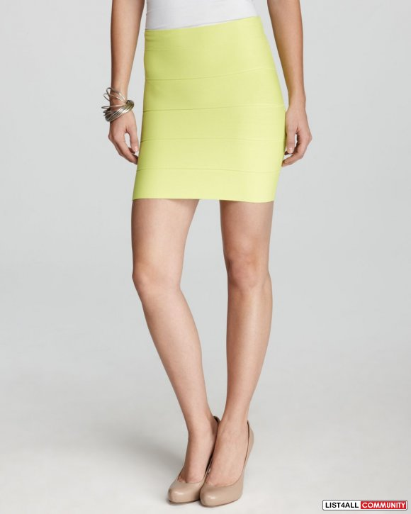 NWOT BCBG Lime Yellow Bandage Skirt