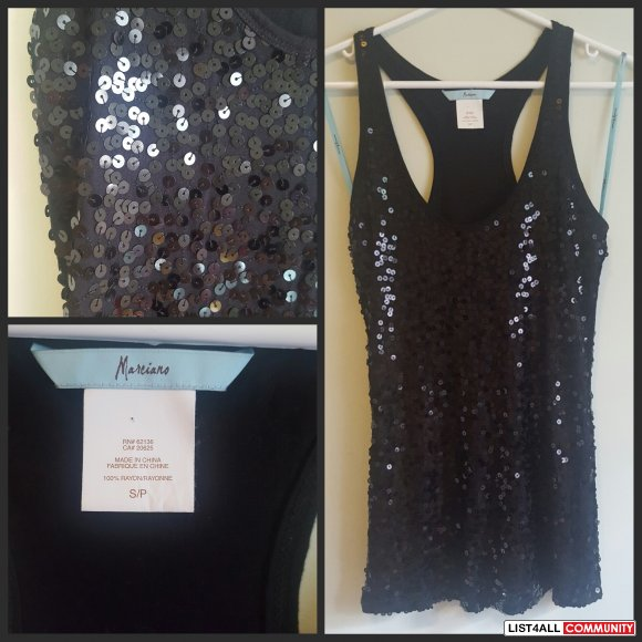 Marciano Black Sequin Top