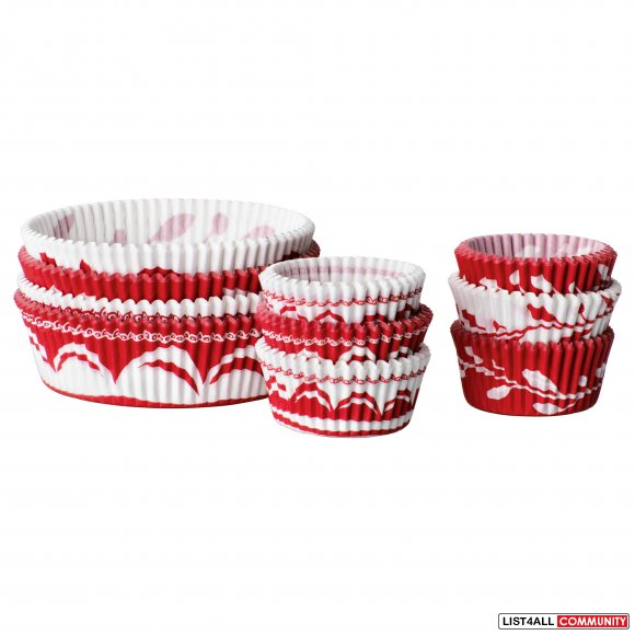 Ikea VINTERKUL Paper Baking Cup - Red Patterns
