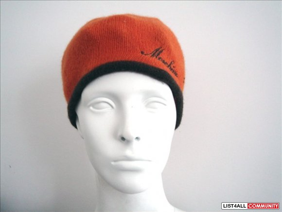 MOSCHINO Orange Brown Knit Hat