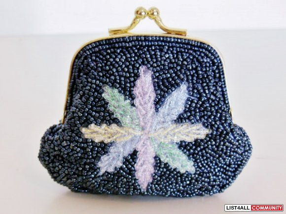 Beaded Change Purse - Charcoal Blue (02040117)