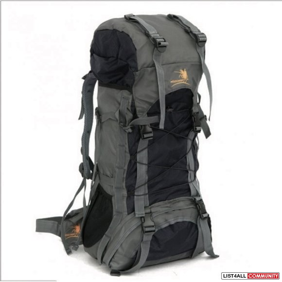 Nylon Rucksack Backpack Bag - 60L - Black Gray