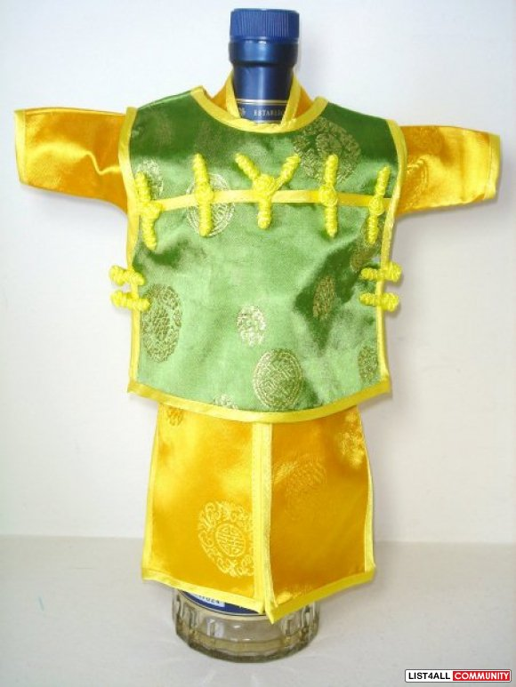 Traditional Chinese Costume Bottle Cover - Green Gold
