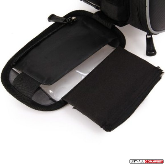 "Bicycle Bike Frame Double Pannier Phone Pouch Bag - 1.8L 5.5"" Screen"