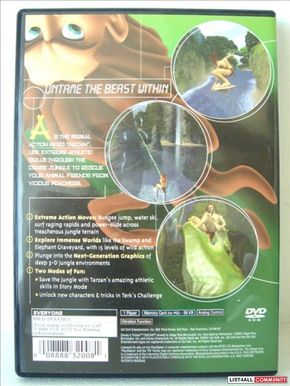PS2 Game - Disney's Tarzan Untamed