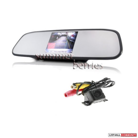 "Rearview Mirror with 4.3"" LCD Display + Backup Camera Set"