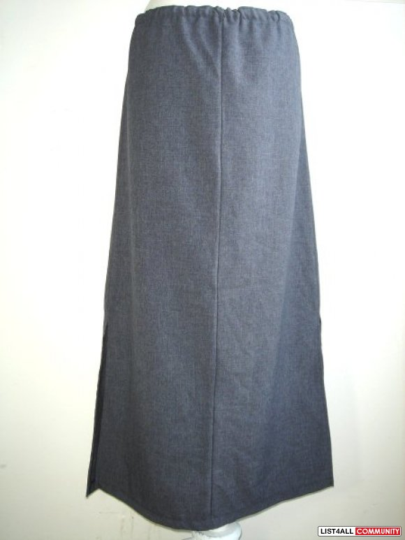 Grey Drawstring Long Skirt with Side Slits