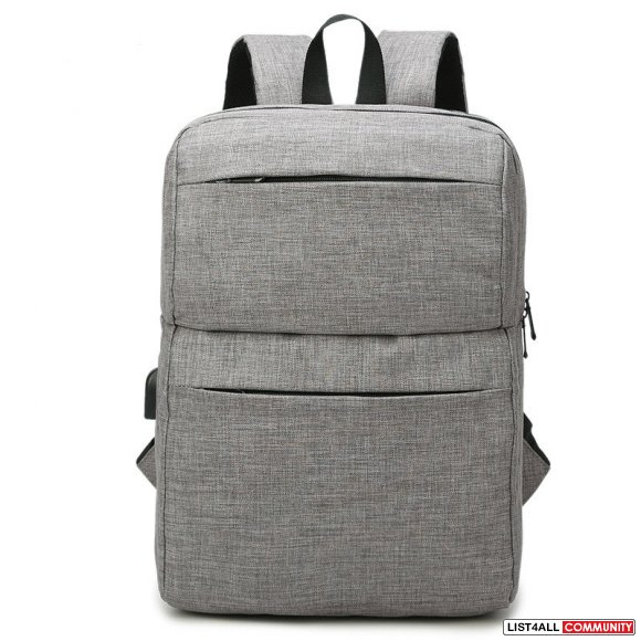 Water Resistant Backpack Daypack with USB Port - Grey