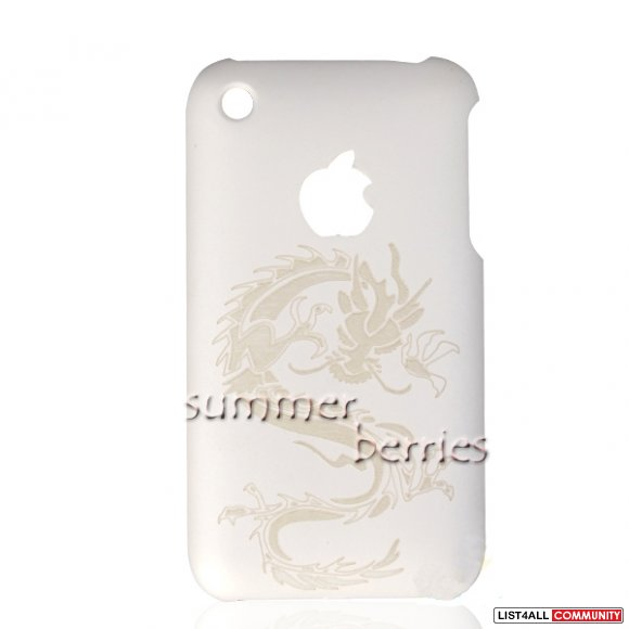 Mat White Dragon Snap-on Hard Case Back Cover For iPhone 3G 3GS