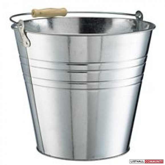 Galvanized Bucket Pail with Wooden Handle 15L