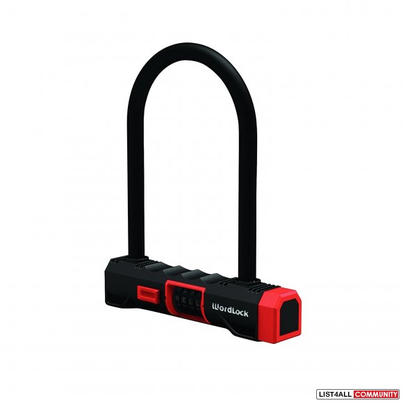 WORDLOCK Resettable Word Combination U-Lock 15mm - Black Red
