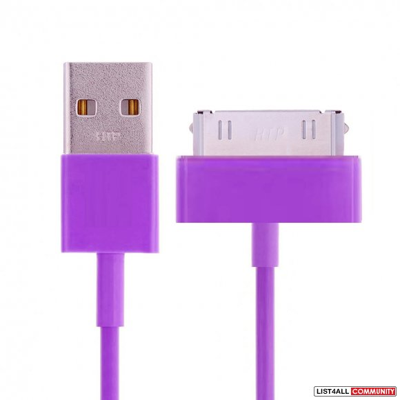 USB Sync Data Charging Cable for iPhone iPad iPod - 3Ft - Purple