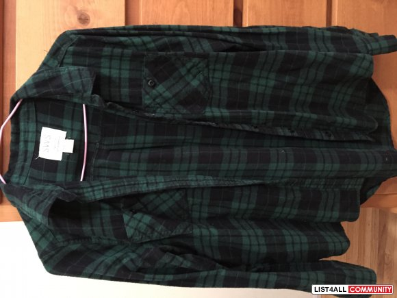 Urban Planet Checkered Black and Green Shirt, Size Small