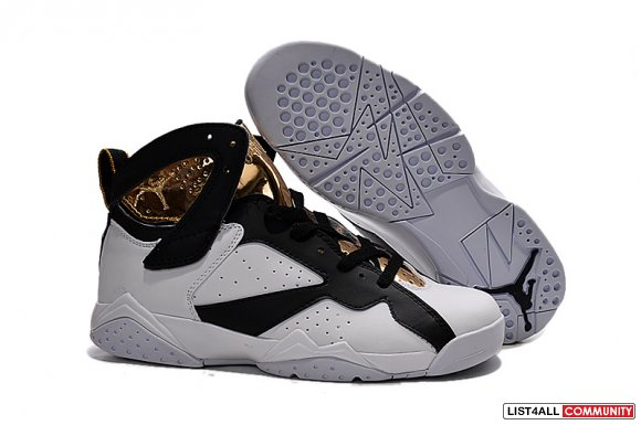 Cheap Wholesale Air Jordan 7 Men Gold White Black,www.wholesalefetch.c