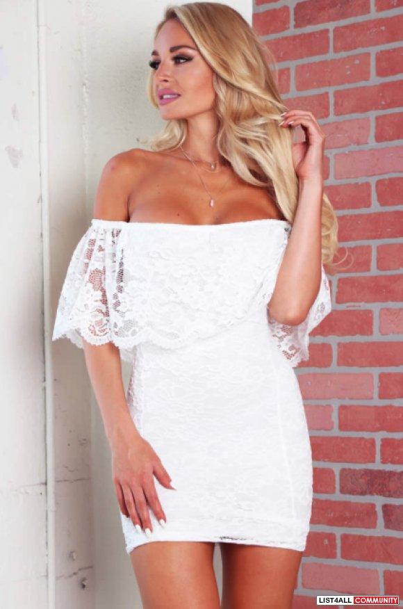 (LUSHFOX) Off The Shoulder Dress in WHITE - S