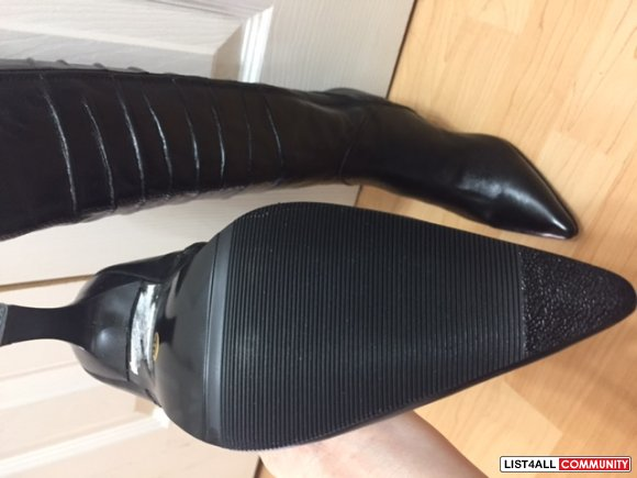 Black Karen Elise leather boots - Brand new, size 6, for sale $55.00