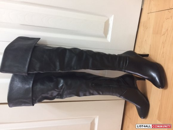 Black over the knee leather boots- Worthington Brand new- $55.00