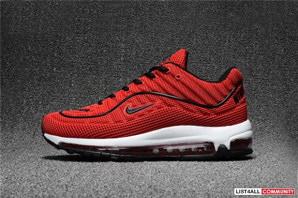 Cheap Nike Air Max 98 Mens Red Black White www.cheapnikevapor.com