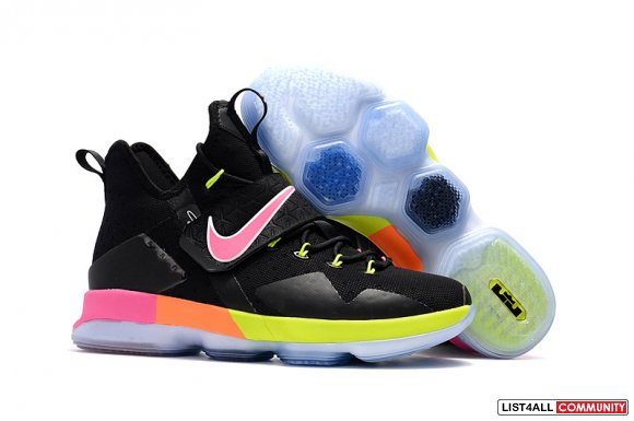 Cheap Nike Lebron 14 Pink Black Orange Green,www.lebronssale.com