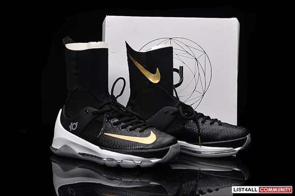 Authentic-Nike-KD-8-VIII-Elite-Black-Golden-Basketball-Shoe-for-Mens w