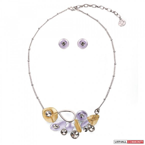 Leaf Pieces Necklace Set - Silver/Purple/Yellow