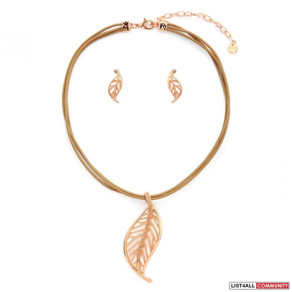 Leaf Necklace Set - Yellow Gold