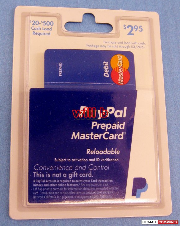 $200 [Loaded] PayPal Prepaid Debit MasterCard Reloadable, NEW, Sealed