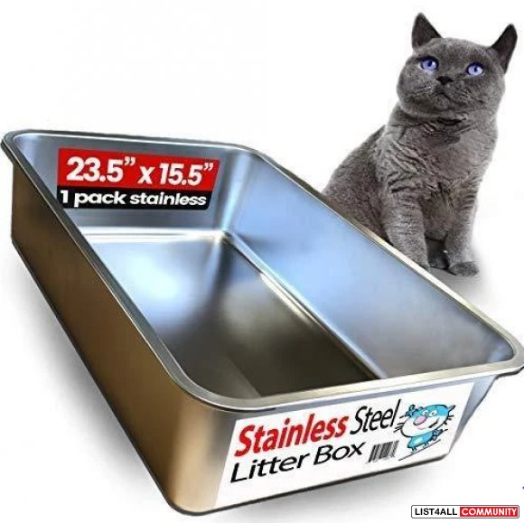 Stainless Steel Litter Box for Cat - Purple Pet Iprimio