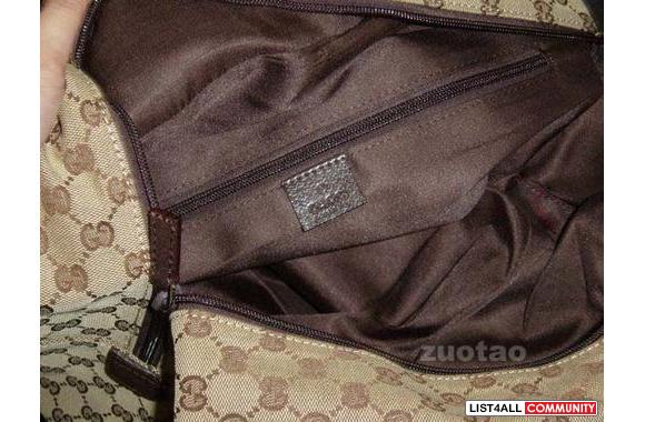 Description: Gucci Luggage Beige&Brown 2 inner side compartments D