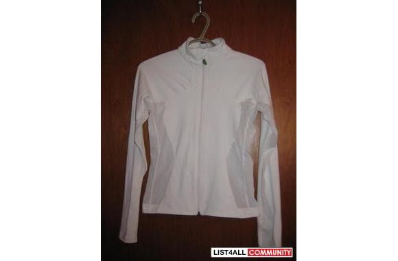 lululemon active jacket, white with mesh side for breathing abilities,