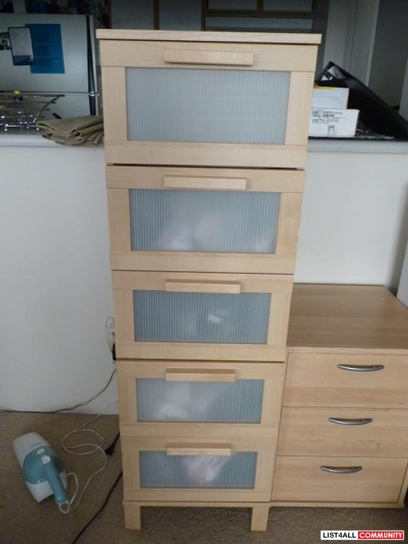 Ikea Aneboda Birch Tall 5 Drawer Dresser  604 sale  List4All