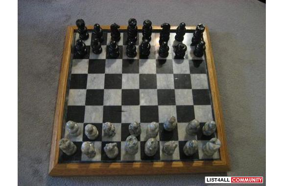 Beautiful onyx and marble complete chess-set
