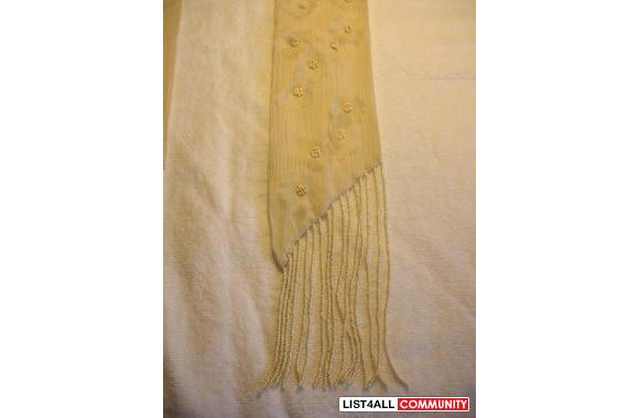 Banana Republic 100% silk scarf with pearl like beaded tassels