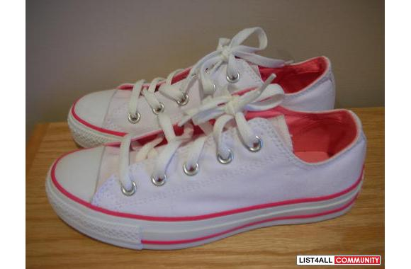 Brand New Converse All Star - White with Hot Pink (still in box!)