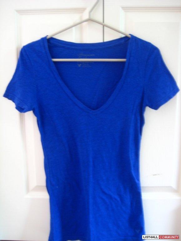 American Eagle Outfitters Royal Blue V-Neck T-Shirt