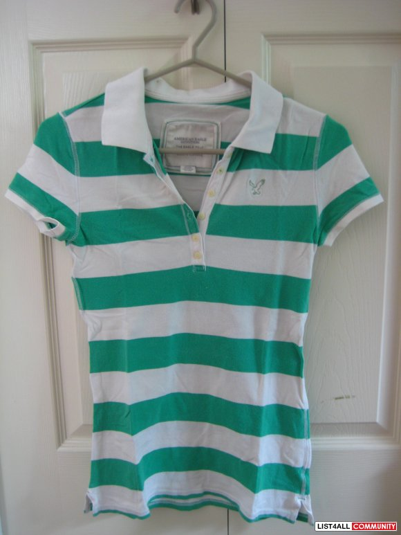 American Eagle Outfitter's Green & White Striped Polo Tee