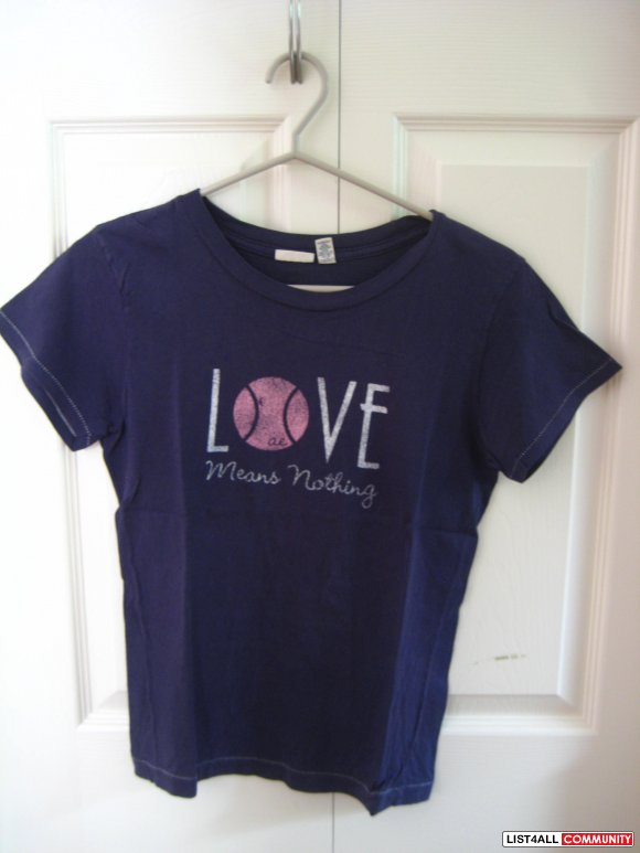 "American Eagle Outfitters ""Love Means Nothing"" Navy Blue Tee"