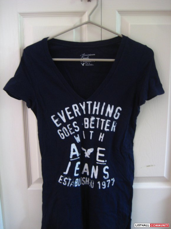 American Eagle Outfitters Navy Blue Tee