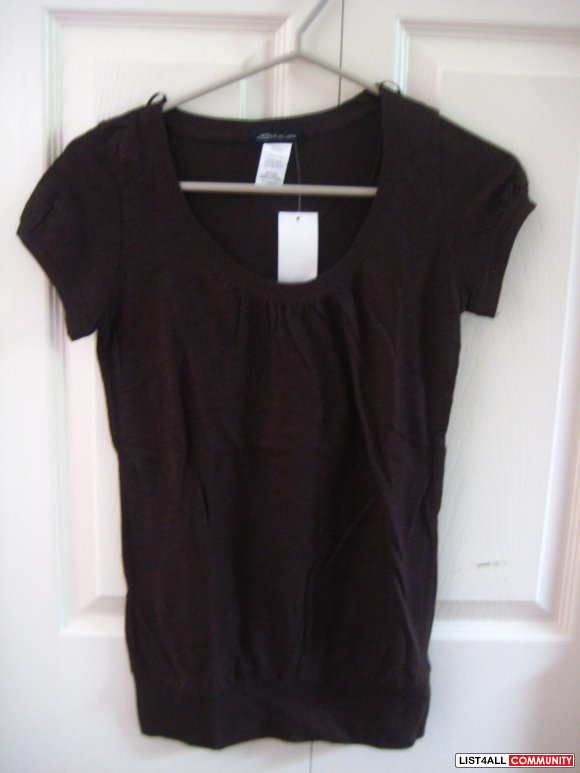 Brand New Brown Scoop Neck Tee