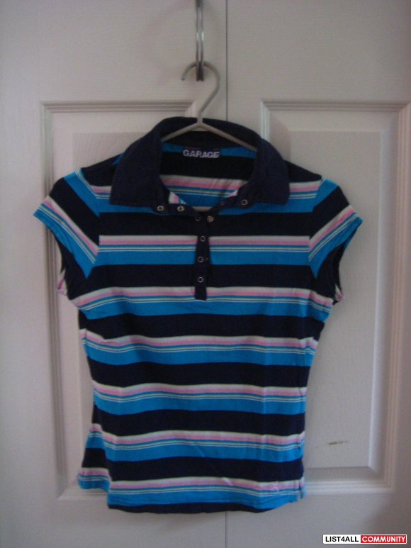 Garage Blue Striped Polo