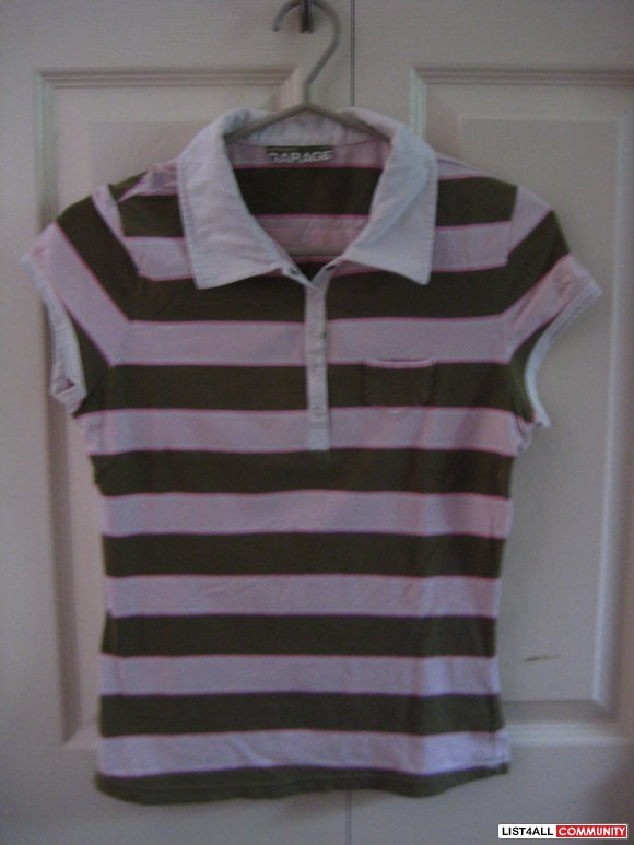 Garage Pink & Olive Striped Polo