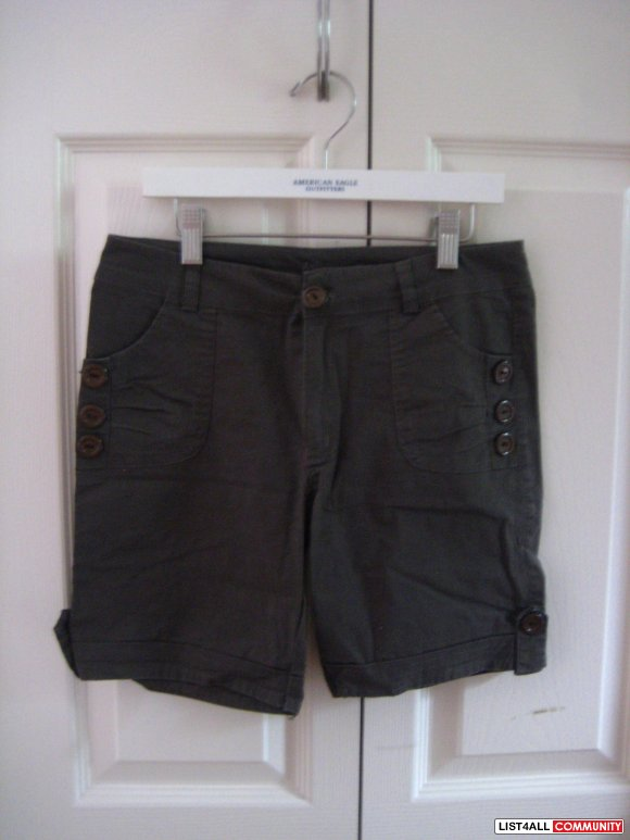 Olive Shorts w/ Button Design