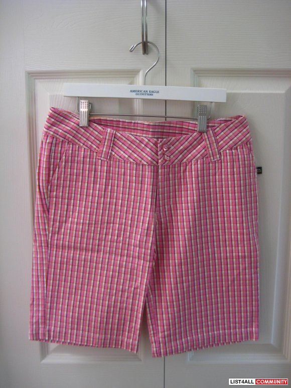 Authentic Paul Frank Pink Checkered Above Knee Length Shorts