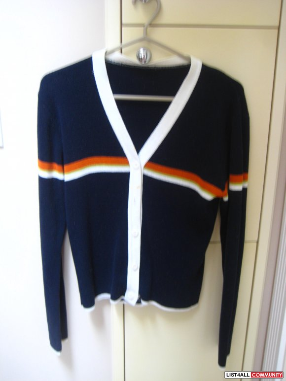 Dark Blue Near Black Striped Cardigan